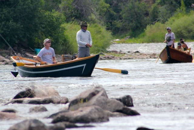Colorado Fly Fishing on the Upper Colorado River in wooden drift boats