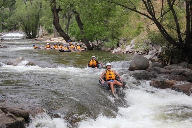 Group river tubing on Boulder Creek Boulder Colorado
